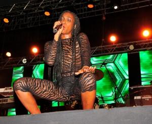 Patra on stage at the Club Mega Fest.