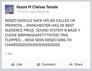 The post from a fan who attended the Birmingham show.