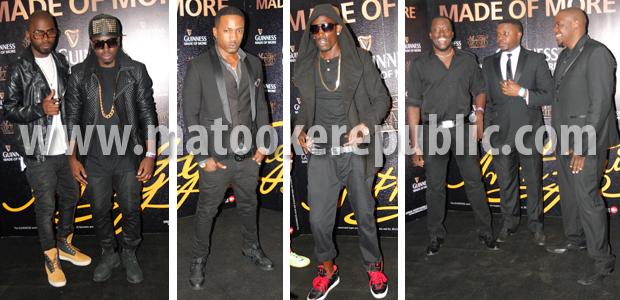 Men in black: Selector Ivan and Kim Swagga, Meddie Ssentongo, Vampino, Shadrack Kuteesa, Just Jose and Benon Mugumbya.
